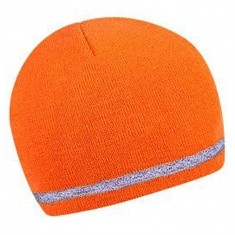 Winterstrickmütze mit Reflex-Rand, ORANGE